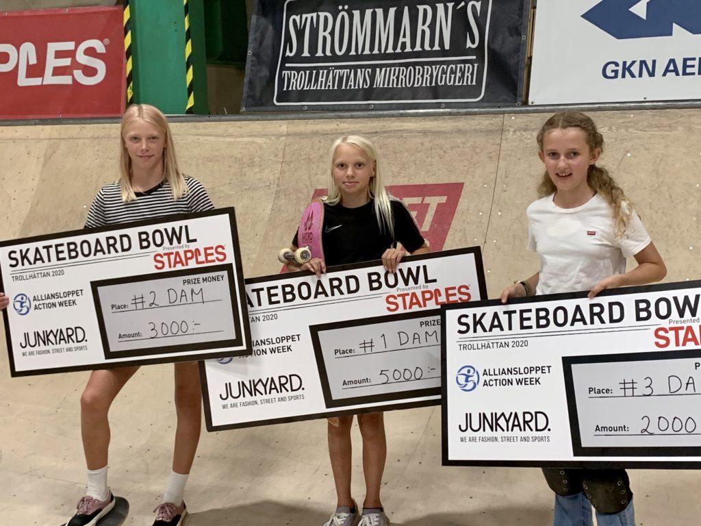 Hedda Hjertberg, Felicia Jakobsson och Ruby Lynn på Trollhättan Skate Invitational